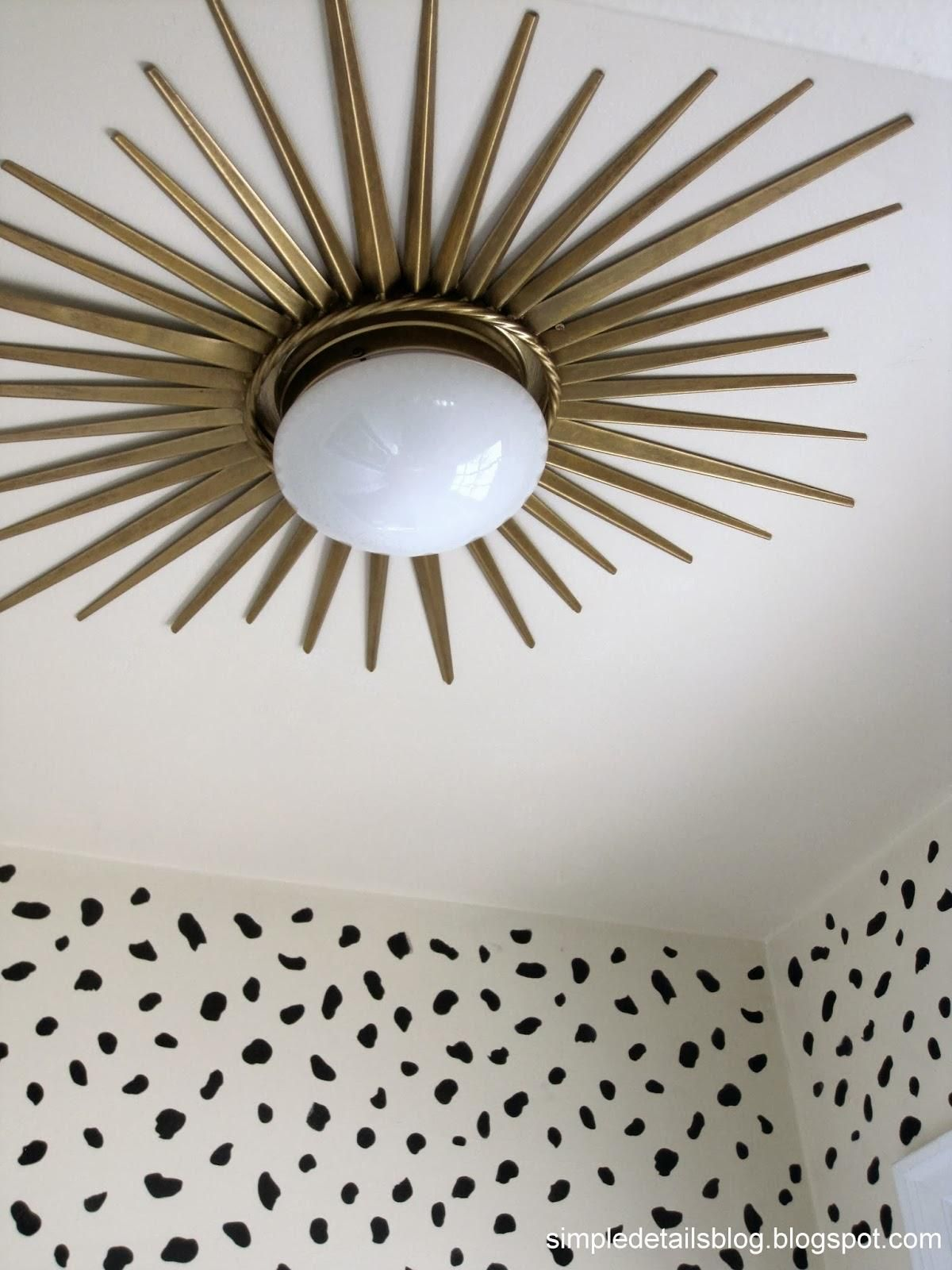 One Way To Update Those Builders Lights Simple Details Diy Gold Sunburst Flush Mount Light This Would Look Great In My Sun Moon And Starts Dining Room