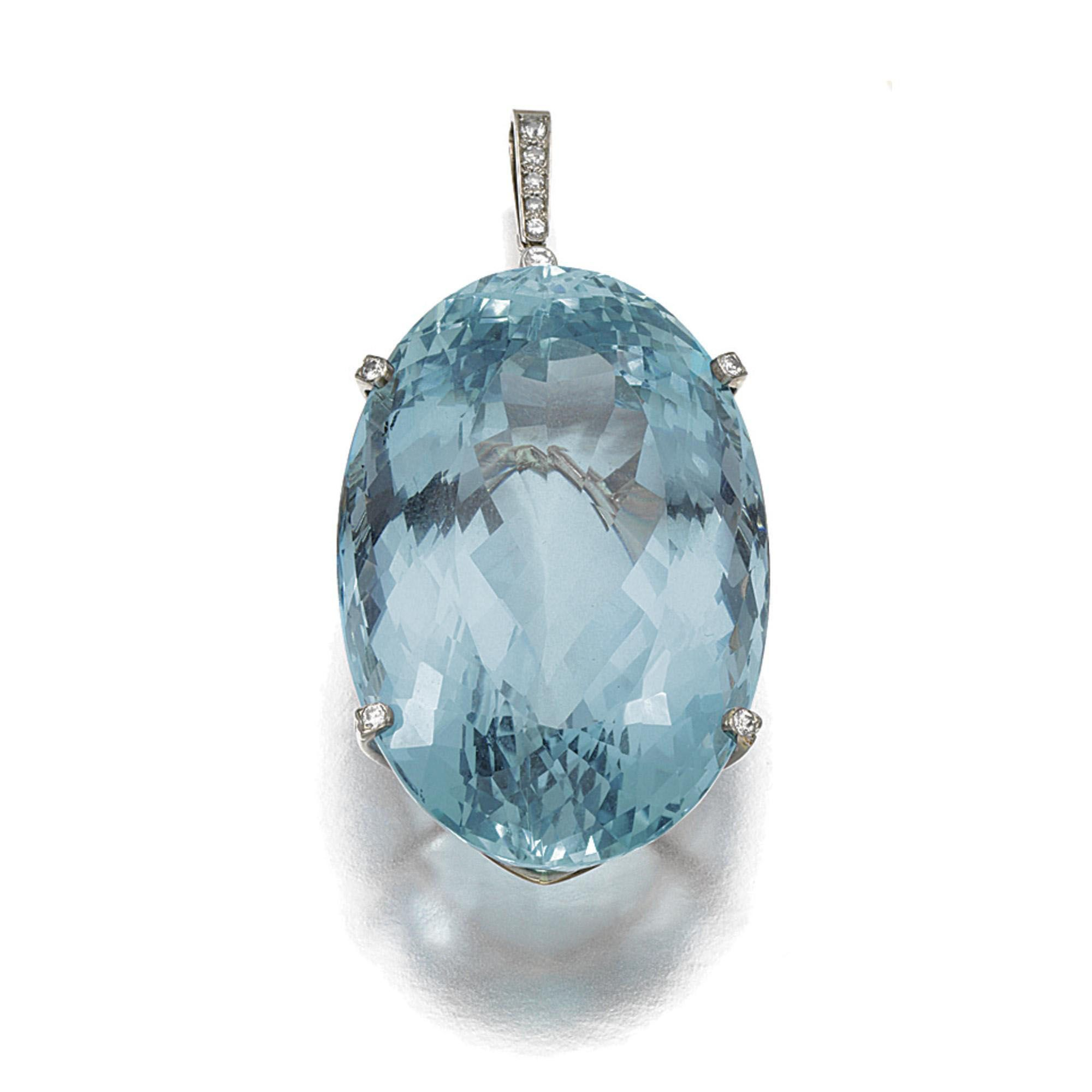 Aquamarine and diamond pendant set with an oval aquamarine stated to