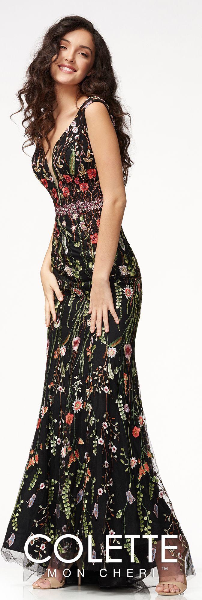 Boho chic floral mermaid evening dress colette for mon cheri