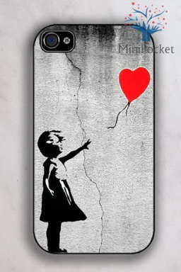 """Graffiti Gifts for Teens:  Banksy """"Balloon Girl"""" iPhone 4 / 4S / 5 Case by Mini Pocket 2012 @ Etsy"""