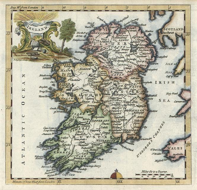 Digital Antique Map Of Ireland In 1772 Ireland Map Antique Map Map