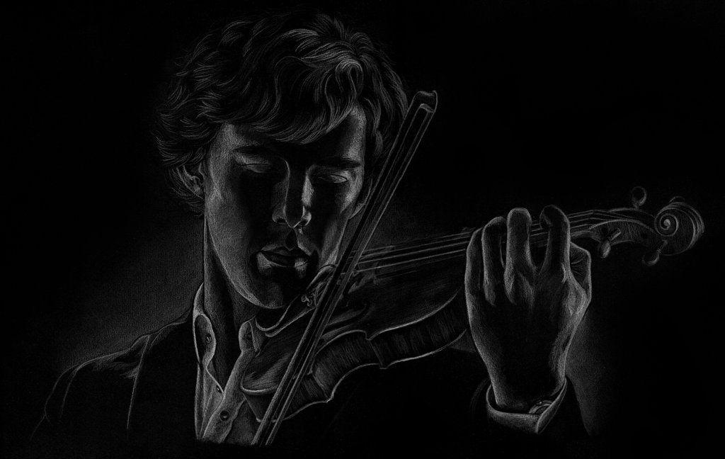 Sherlock Playing The Violin Black Paper Drawing Sherlock Art Sherlock