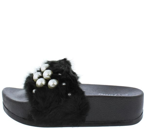 4551d2820a4 LUCKY23 BLACK FURRY PEARL BEADED SLIDE ON SANDAL - Wholesale Fashion Shoes