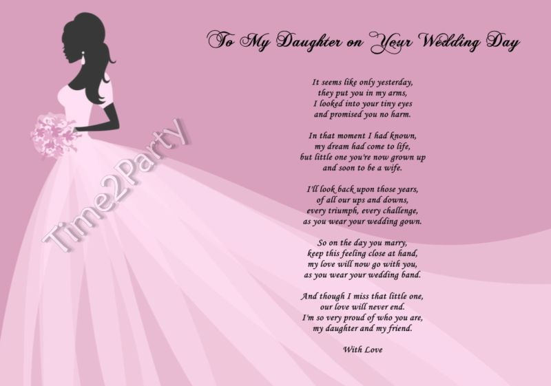 A poem from mum to daughter on her wedding day mother to