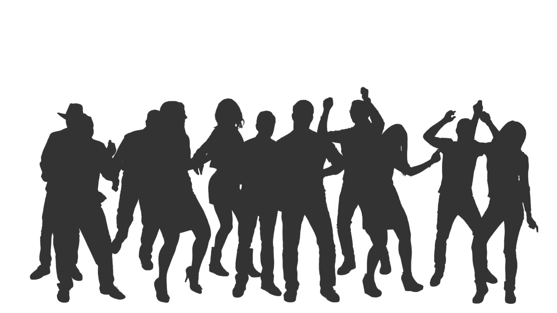 Silhouette Of Dancing Crowd Full Hd Footage With Alpha Channel Download Free Best Quality On Clipart Email Silhouette Png Silhouette Alpha Channel
