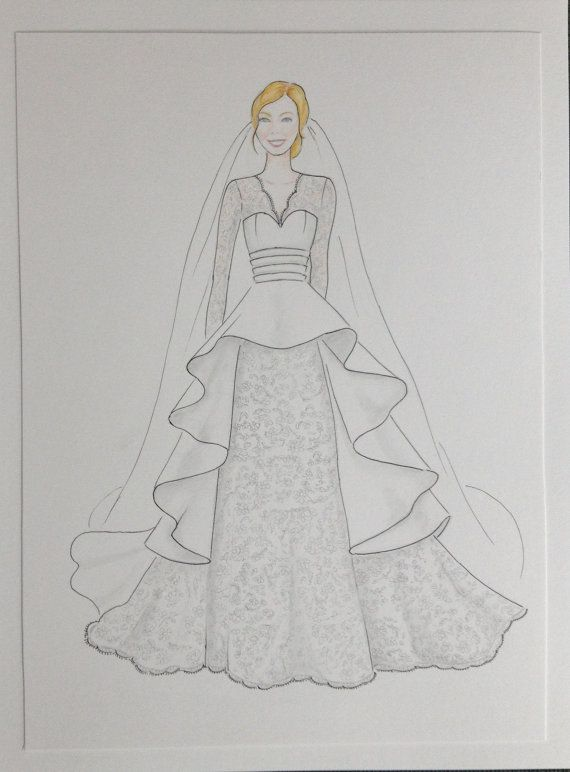 Custom Bride Portrait With Veil Original Drawing Paper Anniversary Wedding Gift In Gown Sketch