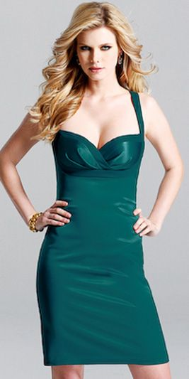 Spaghetti Straps Sweetheart Neckline Ruffle Green Satin Tea Length ...