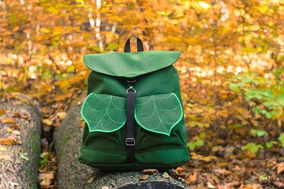 Army Green Leaf Bohemian Backpack, Women's Rucksack, Waterproof Festival Backpack, Grunge Backpack,Leaf Bag, School Backpack, Made to Order
