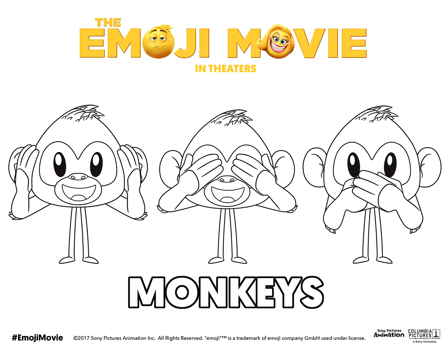 The Emoji Movie Three Monkeys Coloring Page Monkey Coloring Pages Cute Coloring Pages Emoji Coloring Pages