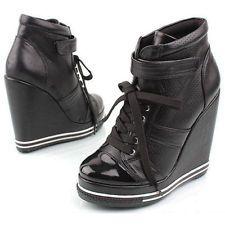 a7d1781591c Platform Wedge Heels Sneakers Kpop Celebrities Ankle Shoes 887 Black ...