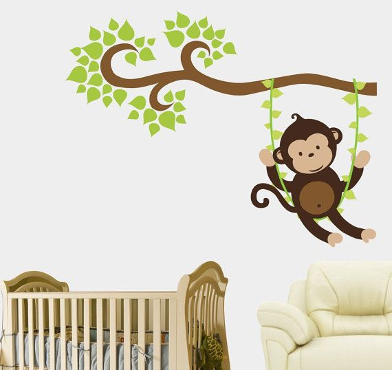 Large Monkey Decal Large Monkey Wall Decal By NurseryDecals4You