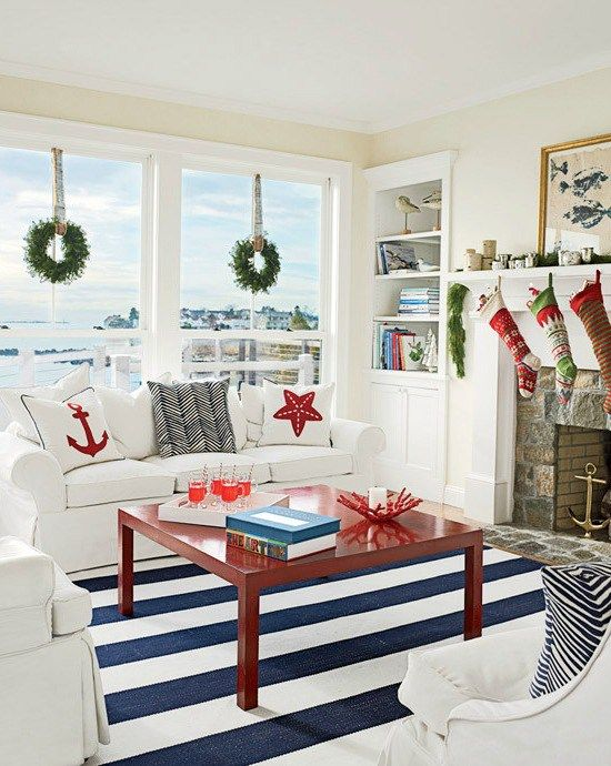 Cozy Cottage Christmas Rooms with Simple Beach Decorations - coastal christmas decorations