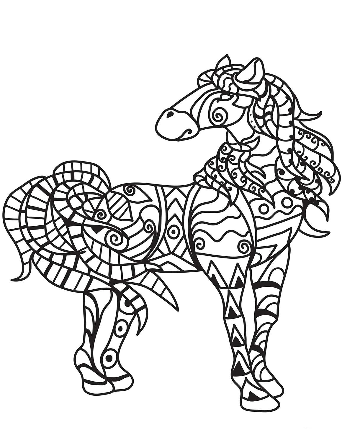 Horse Zentangle Coloring Page Horse Coloring Pages Animal Coloring Pages Horse Coloring