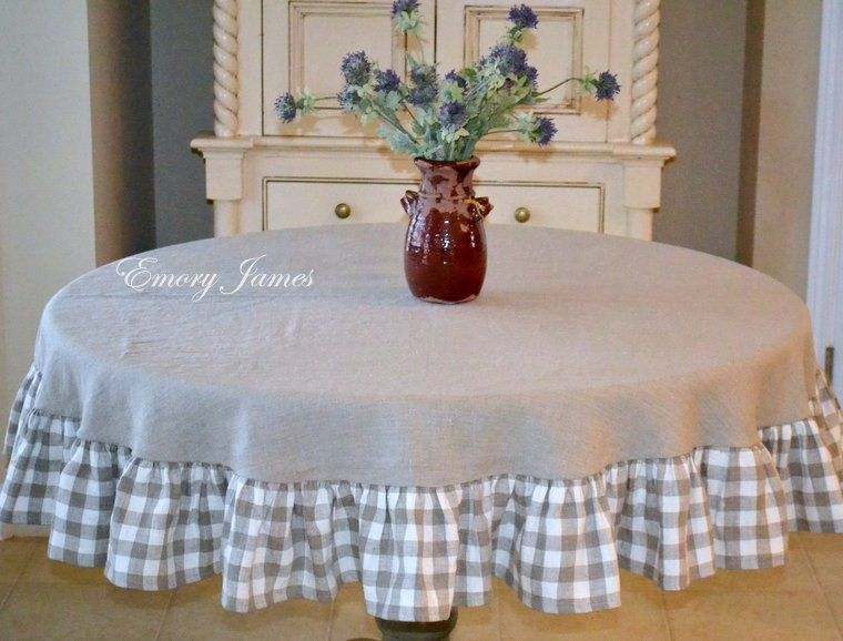Linen Round Tablecloth With Checked Ruffle, French Country, Natural Linen,