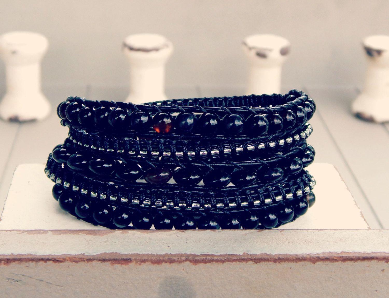 Bohemina Boho Onyx and Dark Gray Ladder and Macrame wrap bracelet