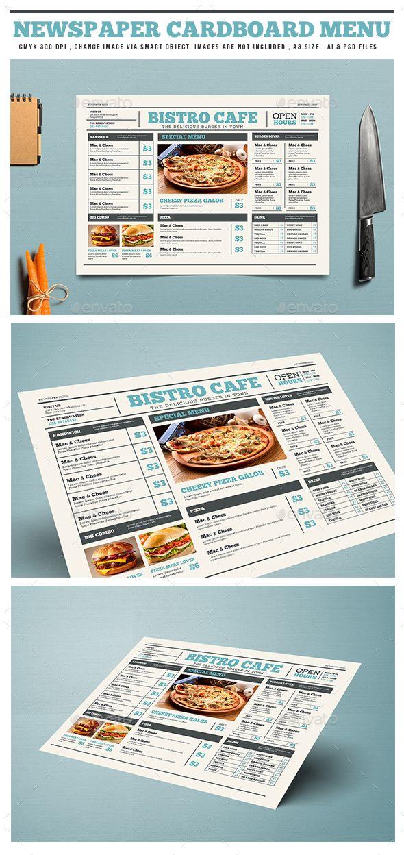 Newspaper Style Cardboard Menu Psd Template Restaurant Bistro