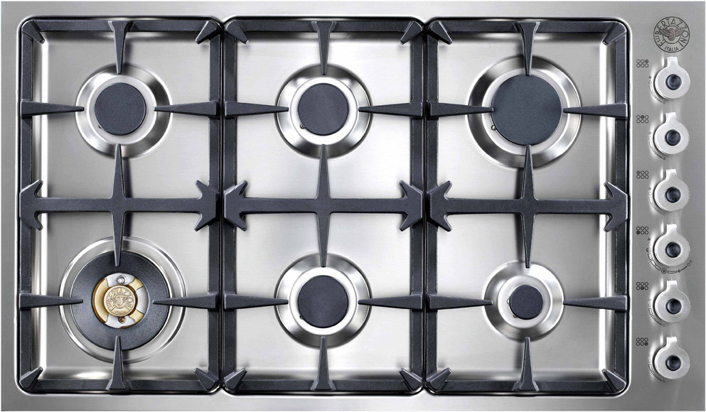 Bertazzoni Db36600x 36 Inch Gas Cooktop With 6 Sealed Burners 18 000 Btu Brass Power Burner Continuous Grates And Electronic Igni Cooktop Gas Cooktop Burners