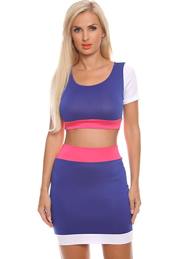 ROYAL BLUE WHITE AND FUCHSIA 2 PC CROP TOP AND MATCHING SKIRT,Women ...