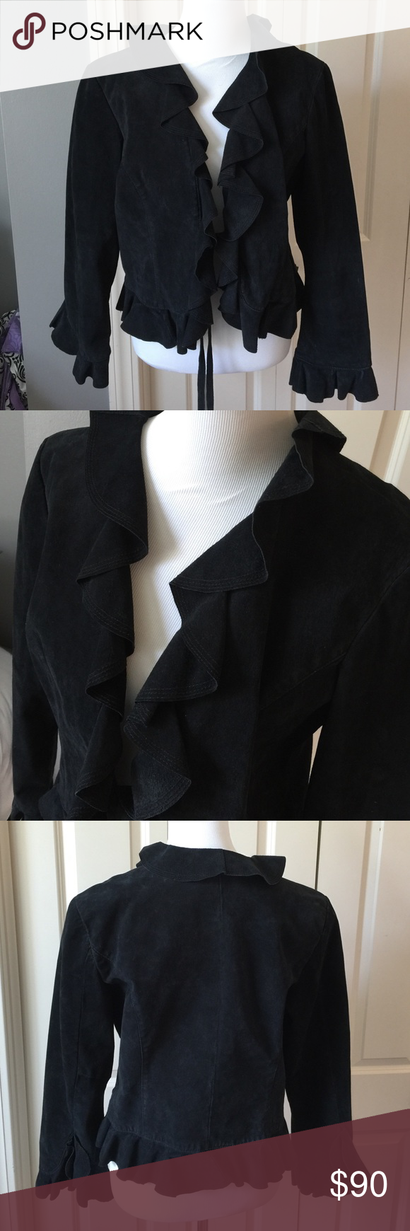 Black Leather Swing Jacket Fully lined. Ruffled front and cuffs. 100% leather Live a Little Jackets & Coats