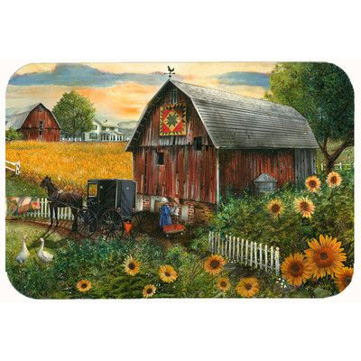 "Caroline's Treasures Sunflower Country Paradise Barn Kitchen/Bath Mat Size: 24"" W x 36"" L"