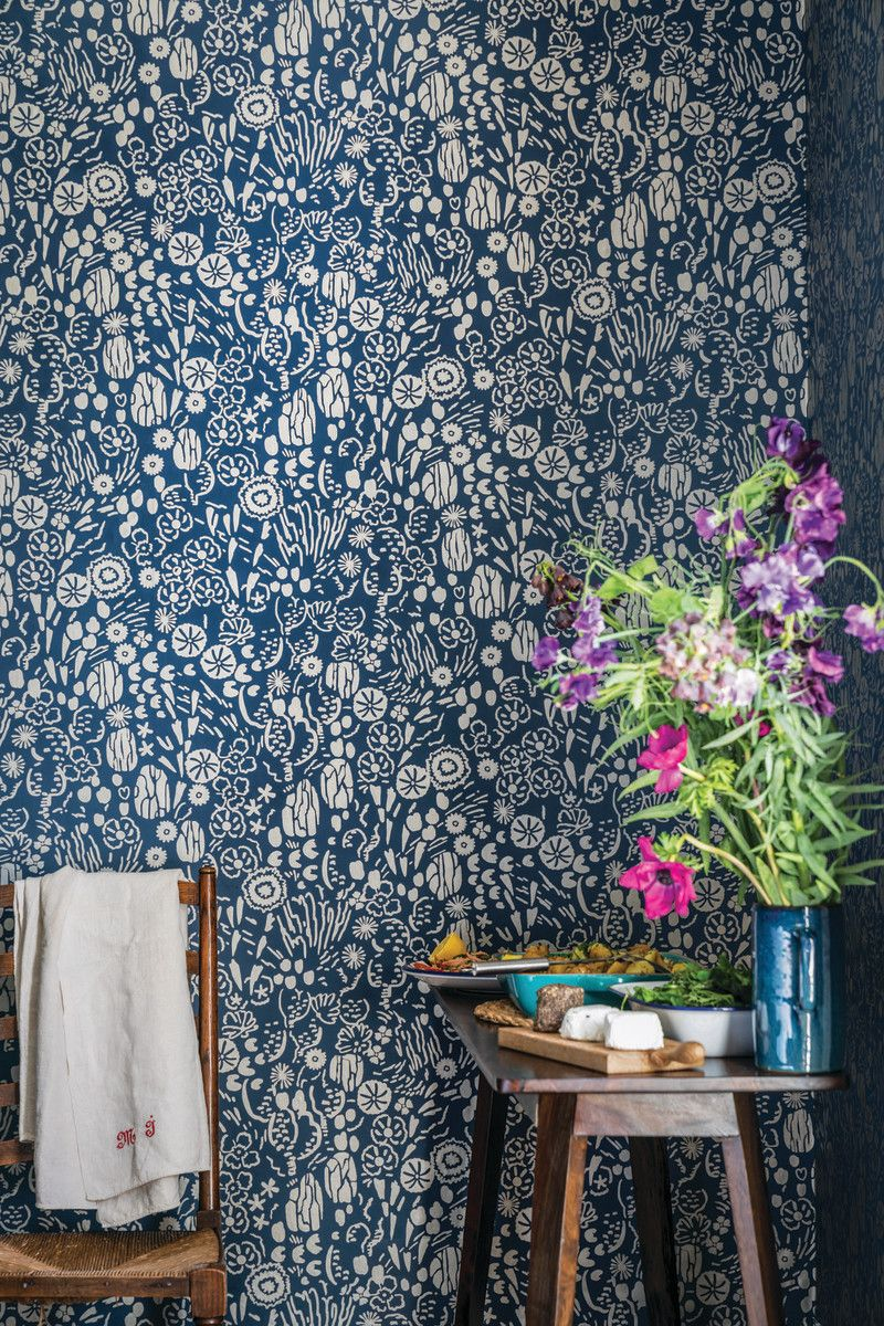 Farrow and Ball's new wallpaper collection. Blue