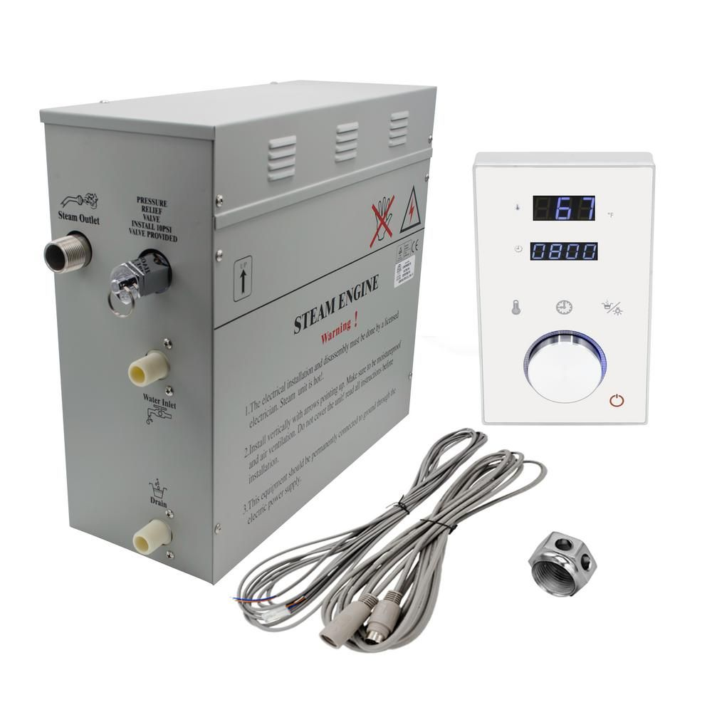 Steam Planet Superior 9kw Deluxe Self Draining Steam Bath Generator Digital Programmable Control In White And Chrome Steam Outlet Sp9hw Steam Generator Steam Bath Shower Installation