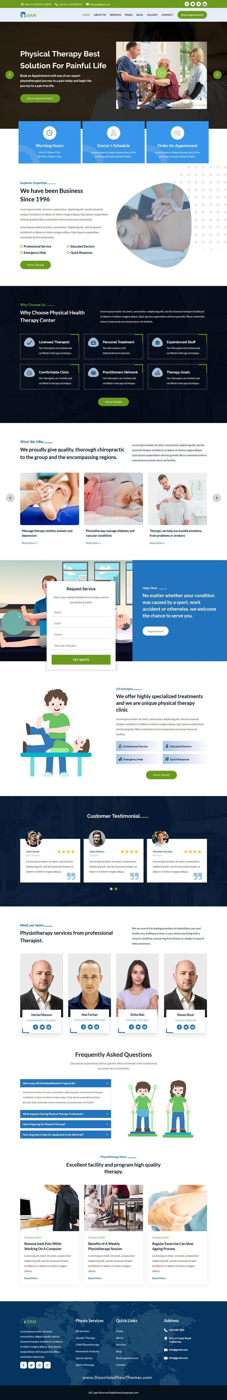 Jian Is A Clean And Modern Design 2in1 Responsive Bootstrap Html Template For Physical Therapy And Rehabilitation Ce Physics Rehabilitation Physical Therapy