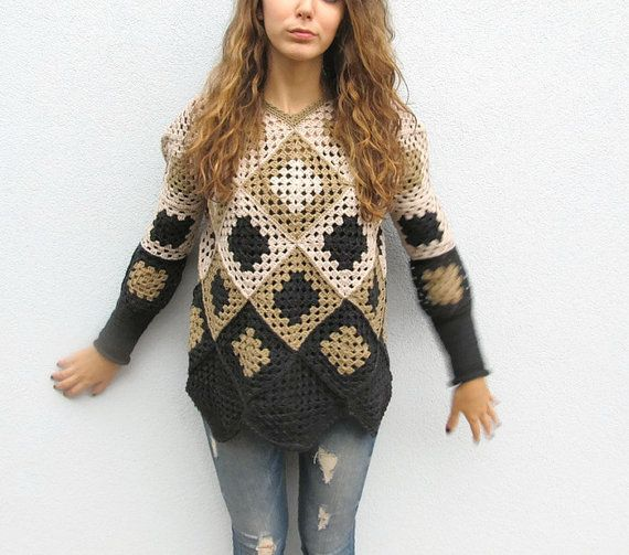 Crochet Granny Square Womens Winter Geometric Retro Sweater ...