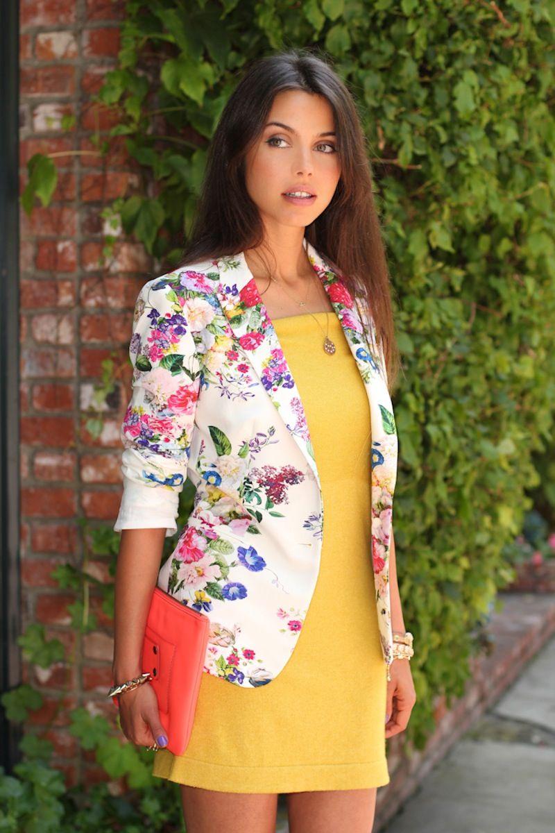 Simple colour block dress with floral jacket