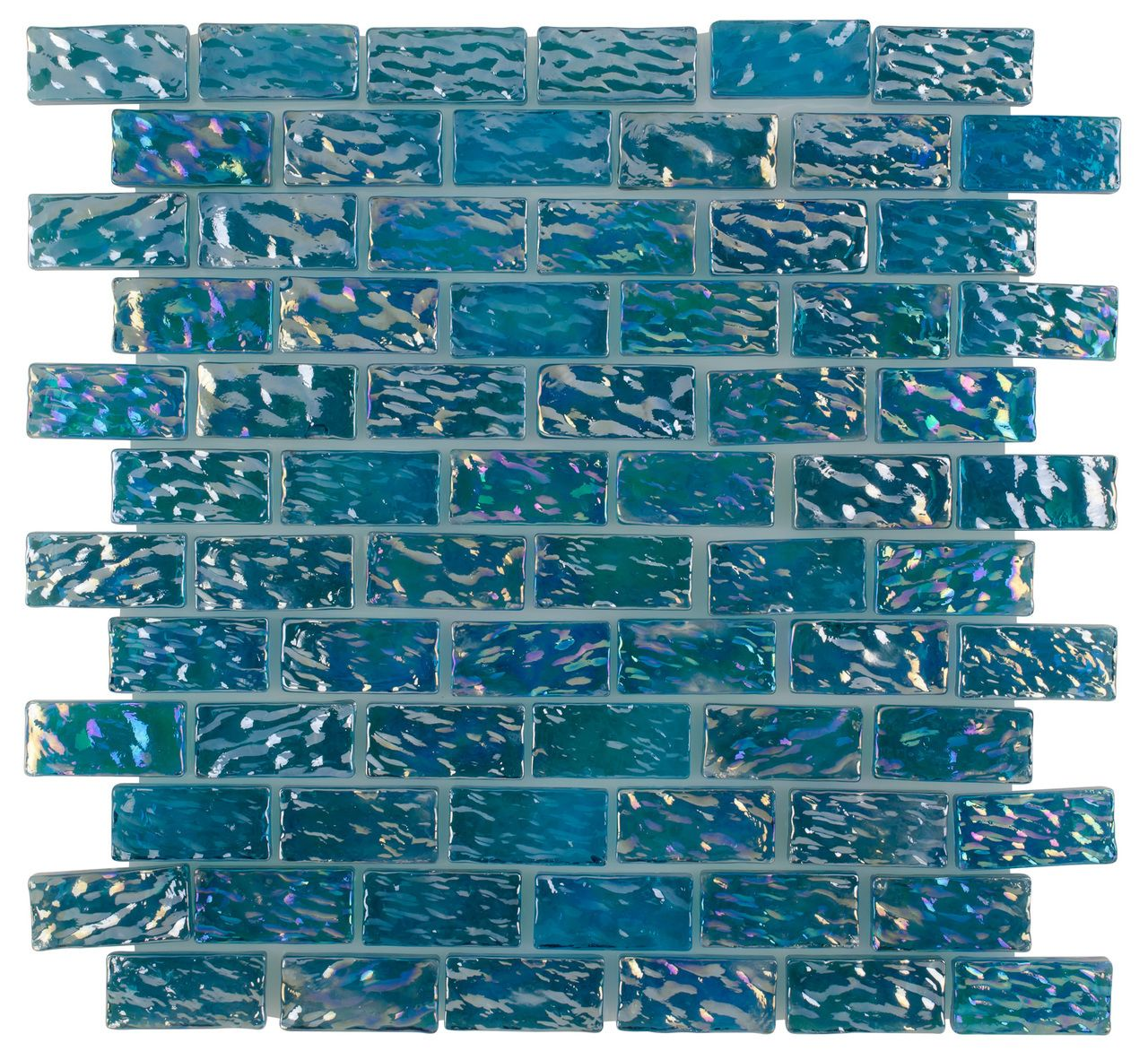 Iridescent Glass Pool Tile Ocean Turquoise 1x2 Mineral Tiles