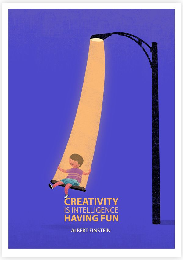 """Creativity is intelligence having fun"" - Albert Einstein // Illustrated #Quotes by Tang Yau Hoong 