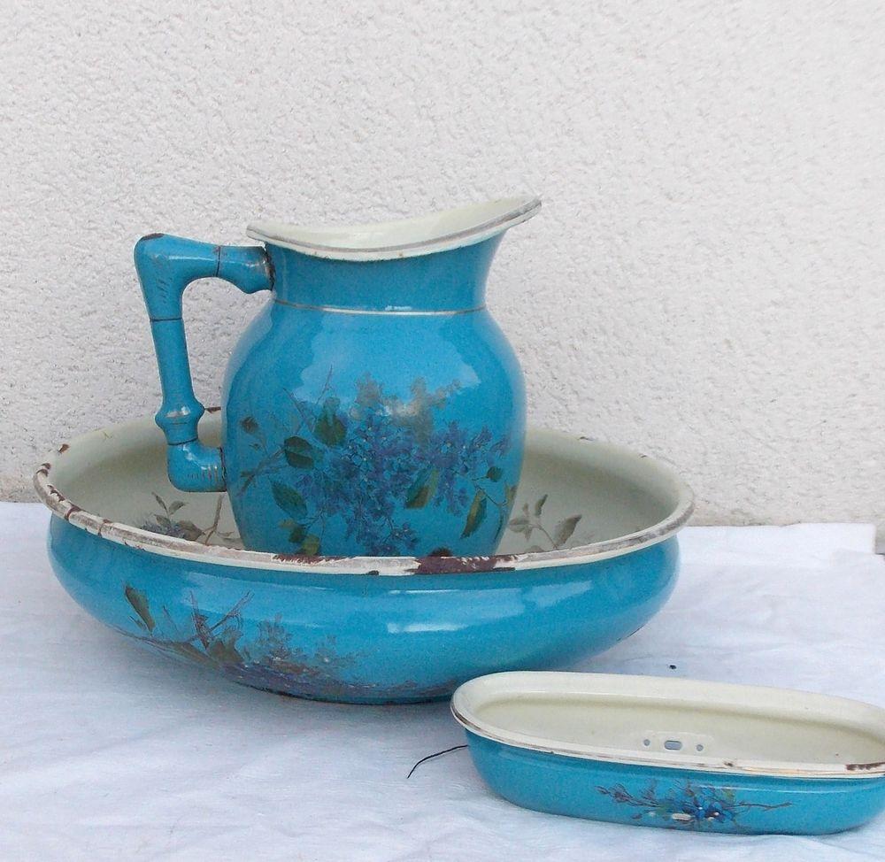 ancien service a toilette emaille cuvette broc b freres enamelware 2 pinterest bowls. Black Bedroom Furniture Sets. Home Design Ideas