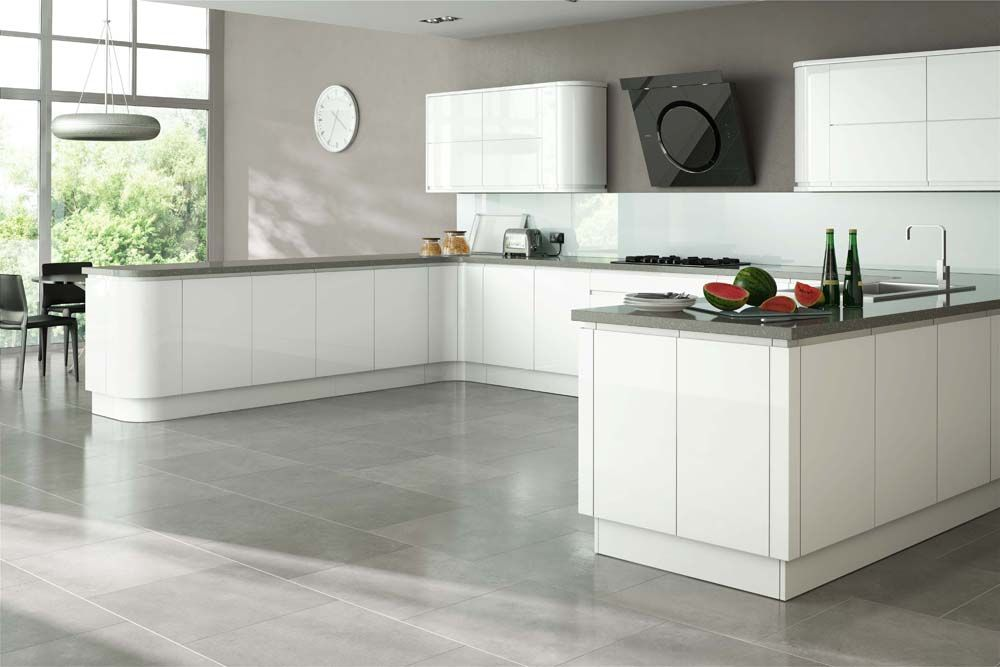 Gloss white units grey worktops dream kitchen pinterest for Kitchen units grey gloss