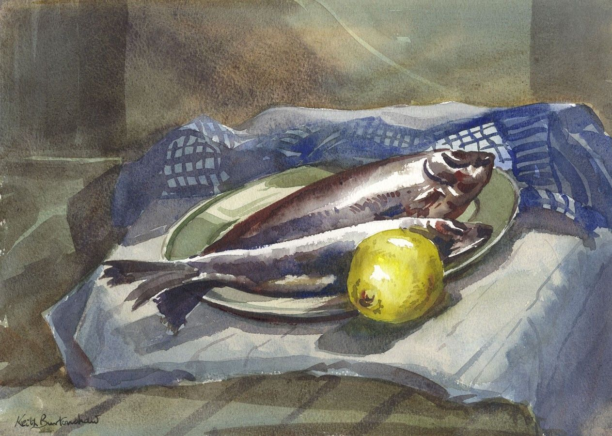Keith Burtonshaw Contemporary Watercolour Still Life With Fish