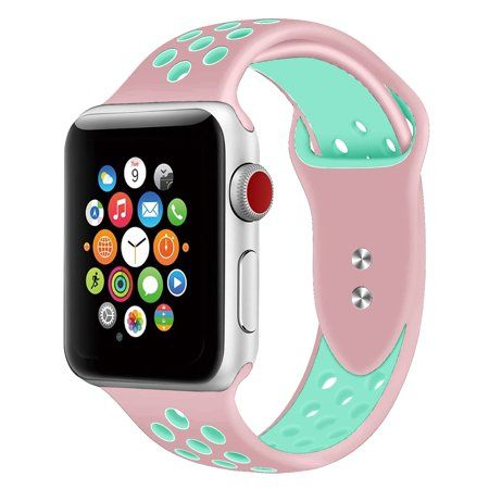 Silicone Sport Band for Apple Watch Band 38mm 40mm 42mm 44mm, Replacement Strap Band Compatible for iWatch Series 1-4 (19-Colors), Green