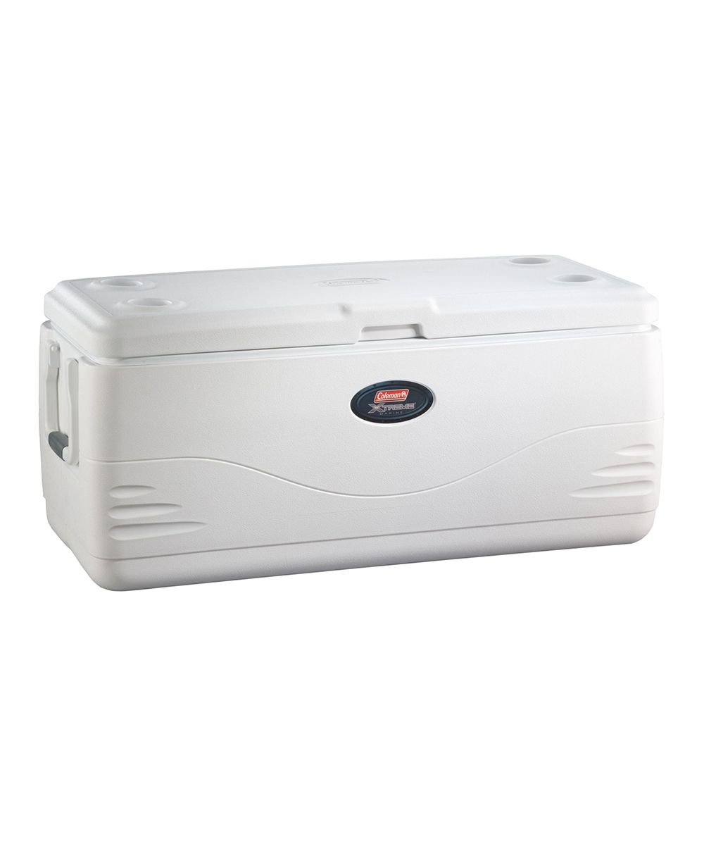 150-Quart Xtreme Cooler. Designed to keep ice frozen and food chilled, this luxurious cooler also features pinch-free handles for easy-peasy transport, while a sturdy construction offers an extra seat at the campsite. 43.12'' W x 18.5'' H x 18.75'' DHolds 150 qt.PlasticCFC-, HFC- and HCFC-free