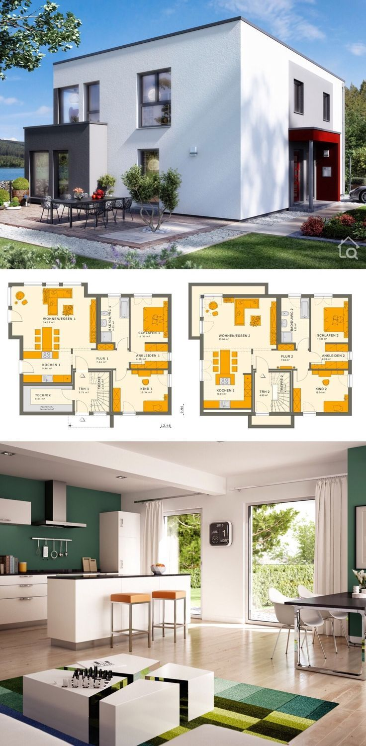 """Multi Generational House Plans Modern Contemporary European Minimalist Bauhaus Style Architecture Design """"SOLUTION 204 V9"""" - Dream Home Ideas with 2 Apartments Layout by Living Haus - Interior with Kitchen Living Room Bathrooms Bedrooms Nursery Kids Entrance Hall Garage and Garden Exterior - Arquitectura moderna casas planos - HausbauDirekt.de #home #house #houseplan #dreamhome #newhome #homedesign #houseideas #housegoals #construction #architecture #architect #arquitectura #hausbaudirekt"""