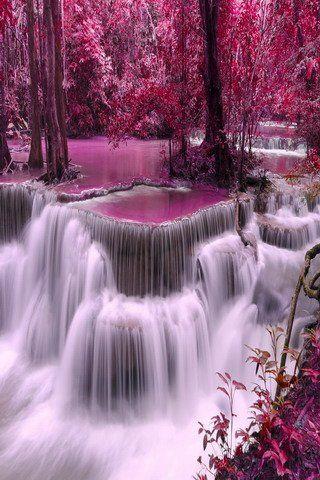 Fall Waterfall Wallpaper Hd Download Free Pink Waterfalls Nature Trees Mobile