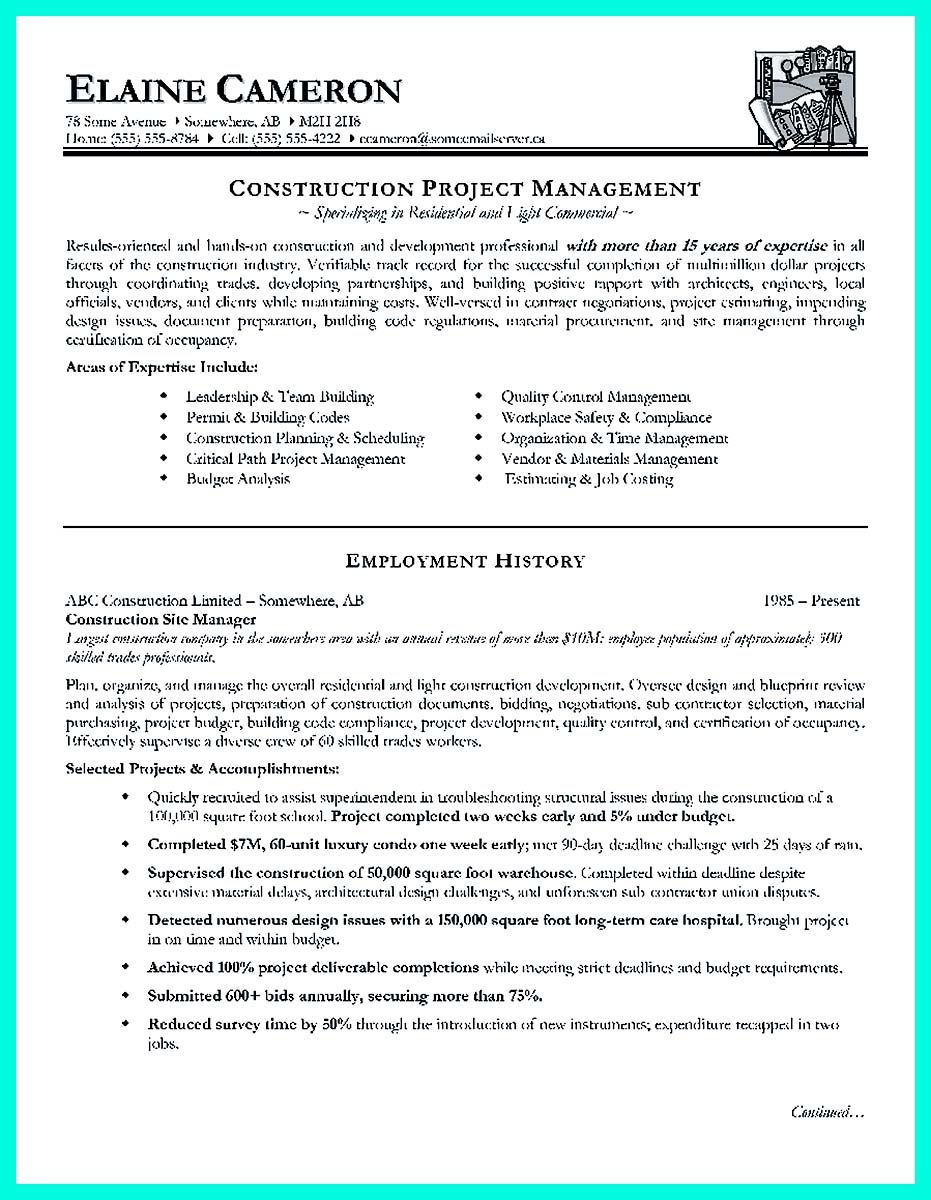 cool Cool Construction Project Manager Resume to Get