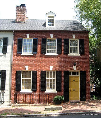 Old Town Alexandria Brick House with Yellow Door | Yellow doors ...