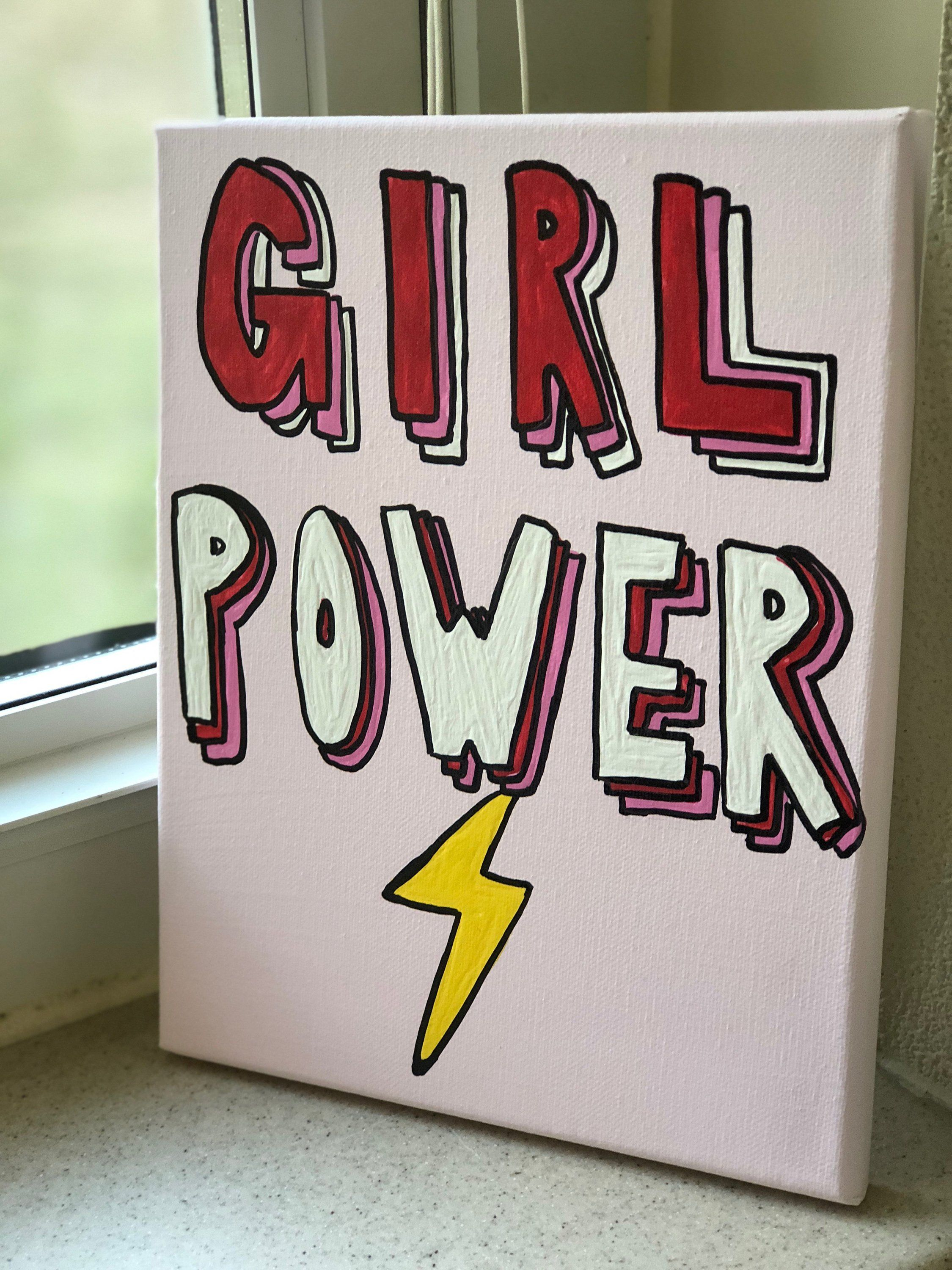 Girl Power Canvas // Lightning Bolt // Girl Boss // Pink // Feminism // Empower Women // Wall Art // Trendy Art // Positive Vibes // Quote