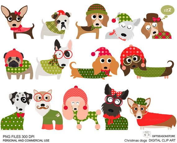 Christmas Dog Digital Clip Art Part 1 For Personal And Commercial