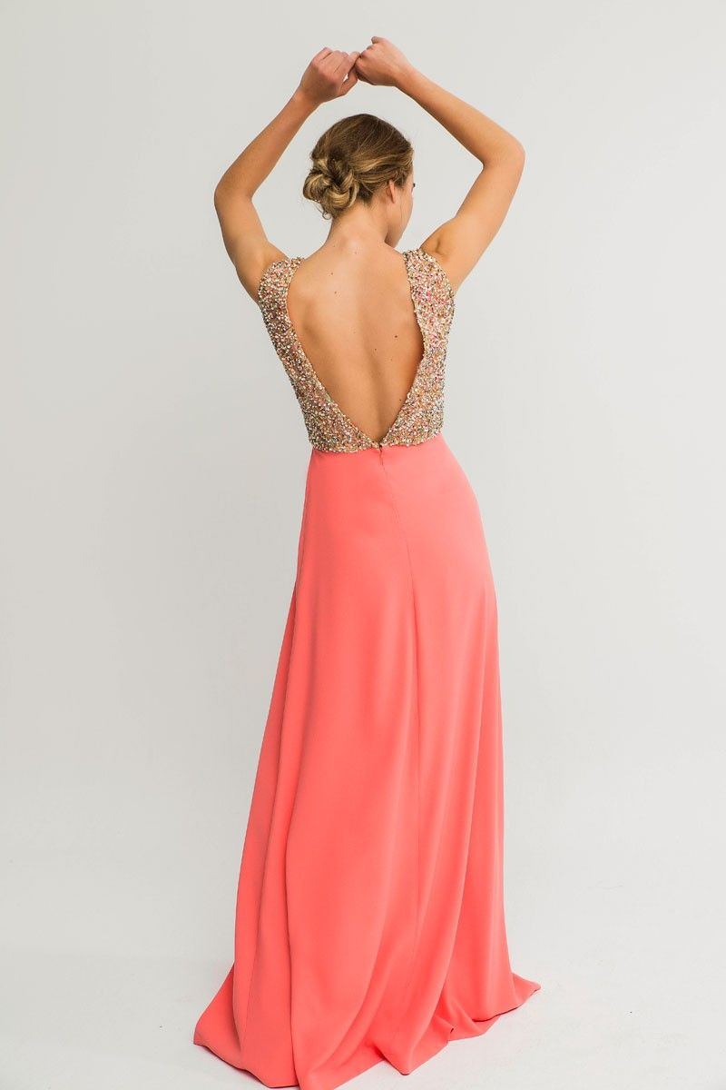 Comprar online vestido largo coral con espalda abierta cuerpo de ...