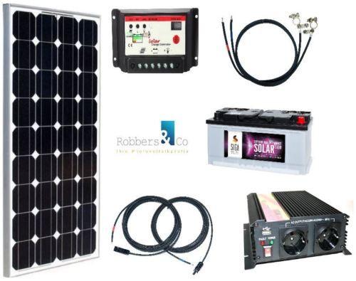 100 Watt Camping Solaranlage 12 Volt Set Mit Spannungswandler Und Batterie Solaranlage Mini Solaranlage Solar