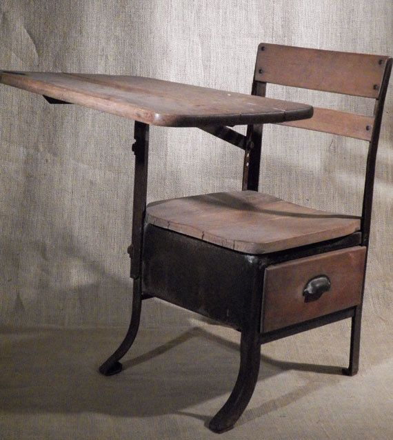 Antique School Desk Solid Wood With Drawer 1930s By Ellauniverse