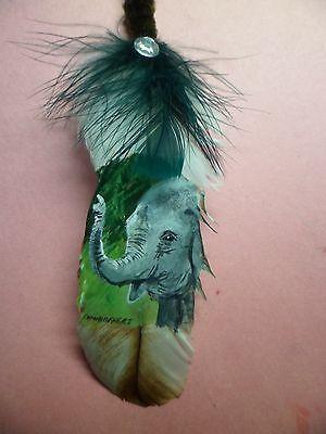 Painted Turkey Feather ELEPHANT (BABY)