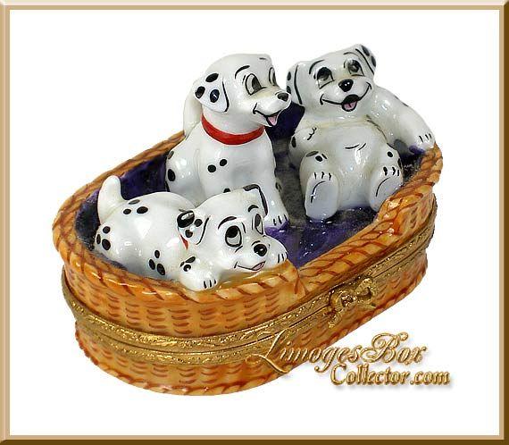 Dalmatian Puppies in Basket Disney (Artoria) Limoges Box #limoges #france