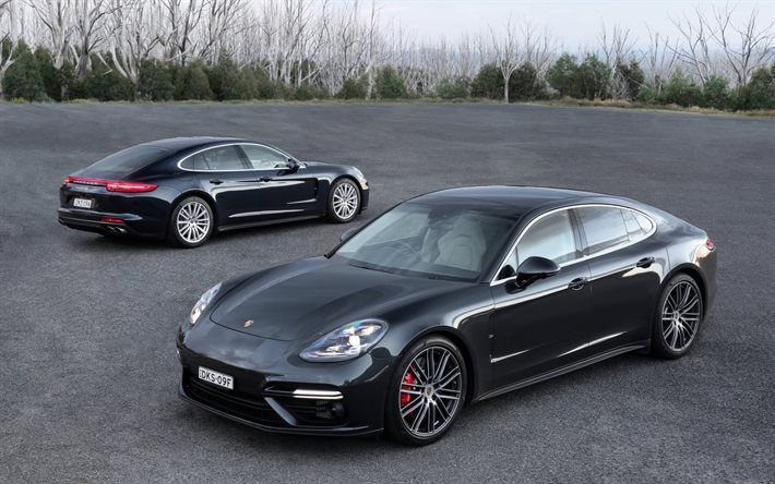 Porsche Panamera 2017 Front View Rear Sporty 4 Door Coupe Gray