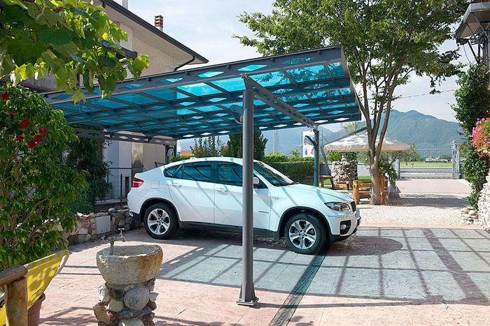 Carport with a flat roof polycarbonate | Pergola, Pergola with ...