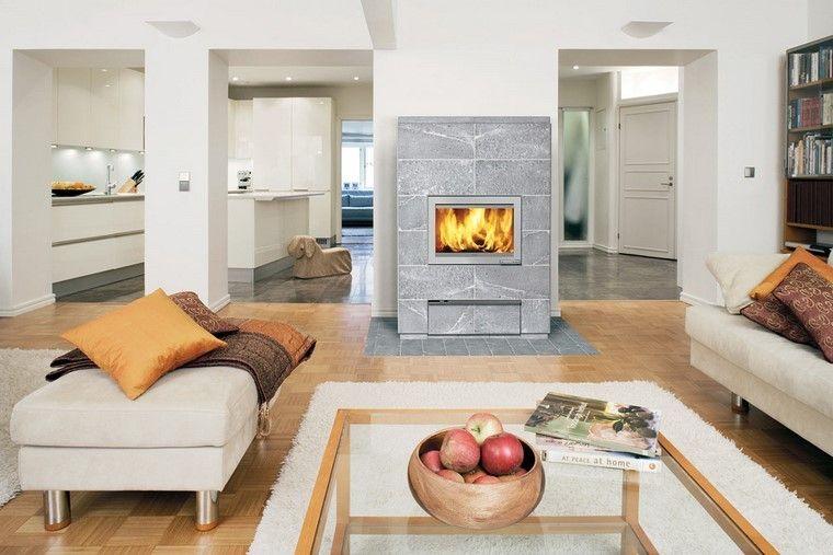 chimenea moderna granito gris pared salon ideas